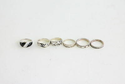 6 Vintage .925 STERLING SILVER Rings Inc. Kit Heath, Enamel&Mother of Pearl 22g