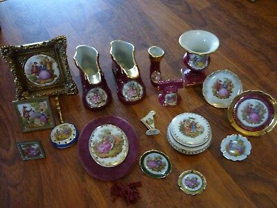 Antique/Vintage Limoges Porcelaine Unusual Plaques,Boots,Urn Job Lot 17 Items.
