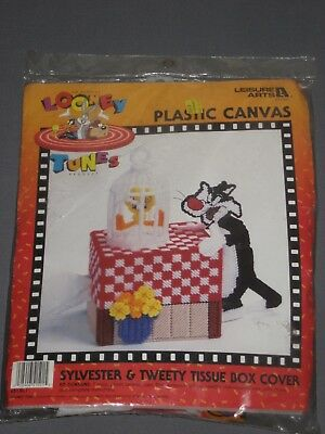 1997 Looney Tunes Plastic Canvas Sylvester & Tweety Tissue Box Cover Kit NEW