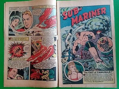Human Torch Golden Age Comic Book Submariner The Patriot Miss America Coverless
