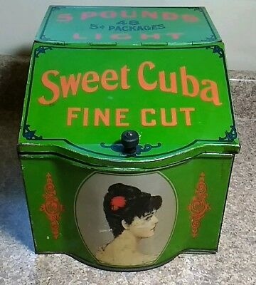 Sweet Cuba Fine Cut Tobacco Spaulding & Merrick Advertising Tobacco Tin Green