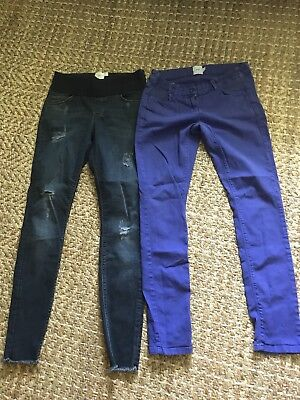 Lot Of Two Asos Maternity Jeans, Distressed Blue, Purple, Size 6/28