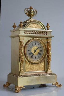GOLDEN BRONZE & ORMOLU CLOCK antique French mantel clock, stunning detailed case