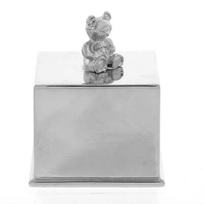 Music Musical Cube Silver Plated Teddy Bear Baptism Christening Baby Gift