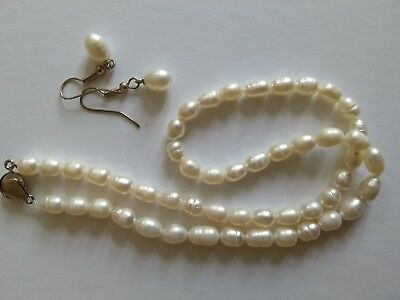 Natural pearl choker/ necklace and earrings
