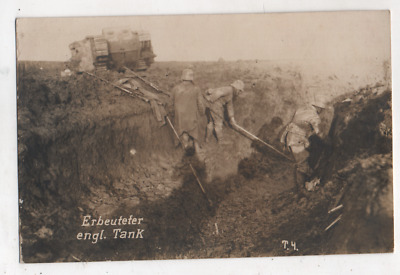 Original Period German Ww1 Photograph-Troops Knocked Out English Tank
