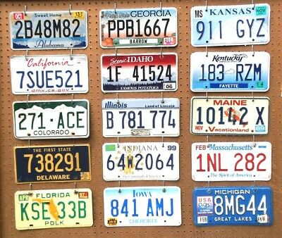 Lot of 15 license plates craft grade, ALABAMA~MIICHIGAN, good-very good cond