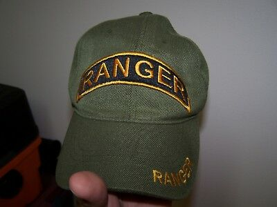 Army Airborne Ranger tab OD green baseball hat with adjustable strap