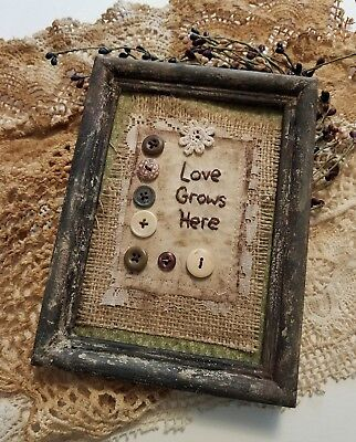 """Primitive Country Stitchery Home Decor 5x7 UNFRAMED """"Love Grows"""" Embroidery"""