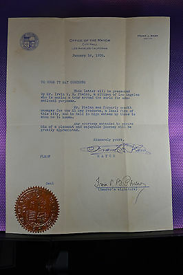 Los Angeles 1931 Frank L.shaw Official Signed Letter Of Recomd. Signature/seal