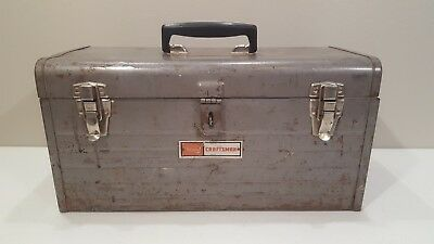 Vintage Sears Craftsman Metal Toolbox Mechanics Tool Chest with Red Tray