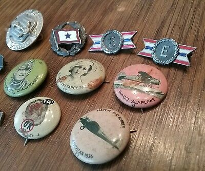 Lot Vintage Buttons, Pins, Military Buttons WW2 Era Sterling medals and Buttons