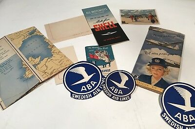 ABA SWEDISH AIRLINES PAMPHLET, POSTCARD, MAP, SHELL OIL ETC. 1940's SAS