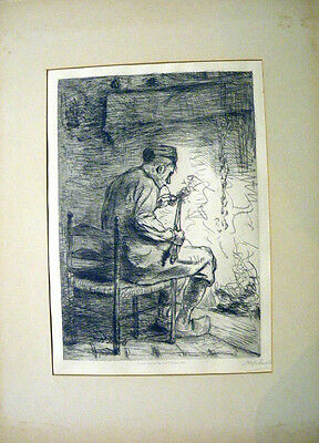 Jozef Israels (1824-1911) - The smoker - drypoint (puntasecca). Il Fumatore 1880