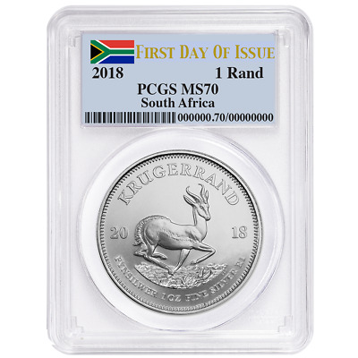 2018 South Africa Silver Krugerrand 1oz PCGS MS70 FDOI Flag Label
