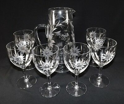 Vintage Hand Blown & Etched Tall Pitcher & 6 Goblets Clear Glass Floral Etching