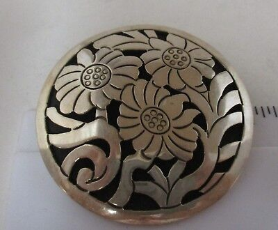 Vtg Mexico Signed 925 Sterling Silver Large Floral Round Pin Brooch Pendant