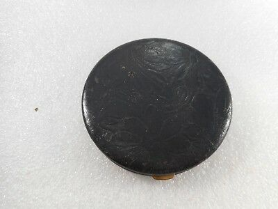 Vintage Unknown Maker Round Leather Loose Powder Compact