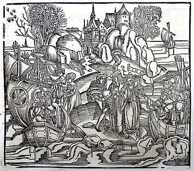 1529 Gruninger Master woodcut Virgil: Aeneas: The Departure from Chaonia