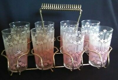Vintage 1960's Pink & White Flowers 8pc Tumbler Drinking Glass Set w/Metal Caddy