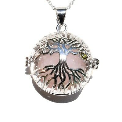 "925 Sterling Tree of Life Pendant Seven Crystal Spheres + 20"" 925 Silver Chain"
