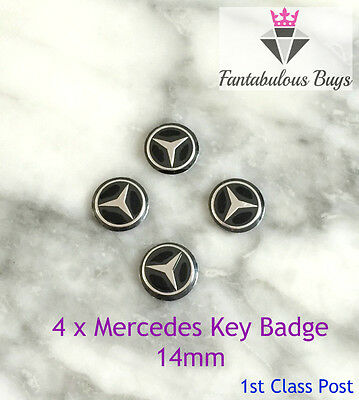 4 x Mercedes Benz Car Key Fob Remote Badge Logo Emblem SELF ADHESIVE Sticker