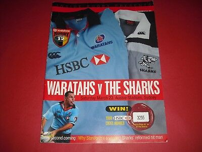 2002 Rugby Union Super 12 Waratahs V The Sharks Official Programme In Sydney