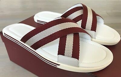 d1a29b33a02e 500  Bally Bonks White and Red Leather Sandals size US 10 Made in Italy