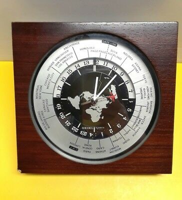 Seiko world map time mantle clock quartz movement seikosha ltd seiko world map time mantle clock quartz movement seikosha ltd japan wooden gumiabroncs Image collections