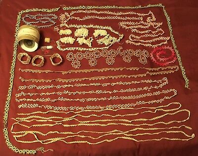 "Lot of Vintage Tatting Lace Trim Handmade 723"" plusThread + 6 pcs Doll Craft"
