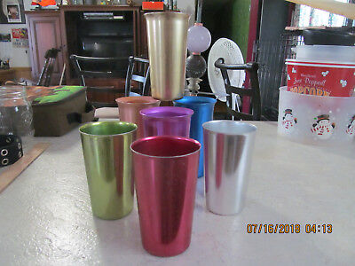 3 Vintage Bascal Aluminum 4 Non Branded Tumblers GREEN BLUE RED SILVER GOLD TAN