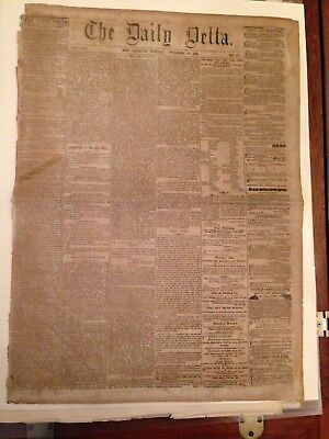 Historic Civil War Newspaper THE DAILY DELTA New Orleans December 31 1861