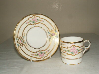 Mintons Rare Encrusted Gold Scroll Work & Rose Panels Cup & Saucer Stunning