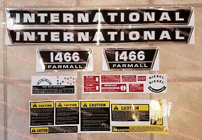 COMPLETE Decal Set for IH 1466 Tractor International Farmall Hood Panel Warning