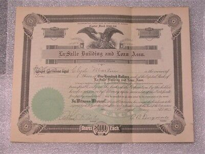 South Bend IN 1920's Indiana Bank Stock LaSalle Building and Loan Vtg Souvenir