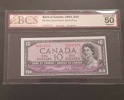 Bank of Canada 1954 $10 Devils Face coyne towers BC-32a BCS AU50