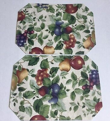 2 New Unused Sakura Sonoma Excell Place Mats 6 available Cloth Fruit Tuscan