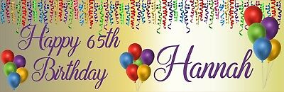 PERSONALISED 65TH BIRTHDAY BANNER X 2 Streamers Balloons