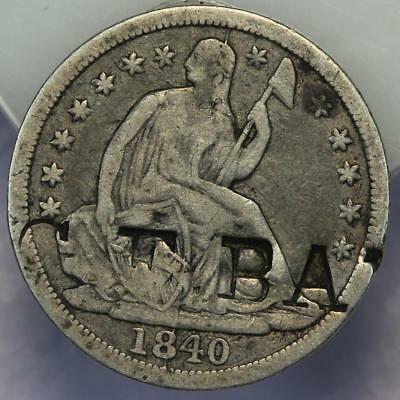 1840 Seated Liberty Silver Half Dime - Counter Stamped *DoubleJCoins* 176-01