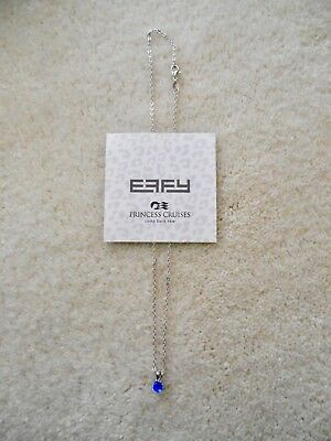 Princess Cruises EFFY Blue Synthetic Sapphire Pendant.925 Sterling Chain w/Clasp