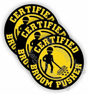 (3) Funny Hard Hat Stickers | BROOM PUSHER Helmet Decals | Sweep Safety Operator