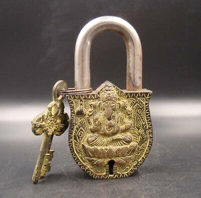 Collectible Handmade Carving Statue Copper Bronze Modelling Buddha Lock