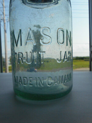 Rare , Unlisted  Green Quart - Mason Fruit Jar - Made in Canana