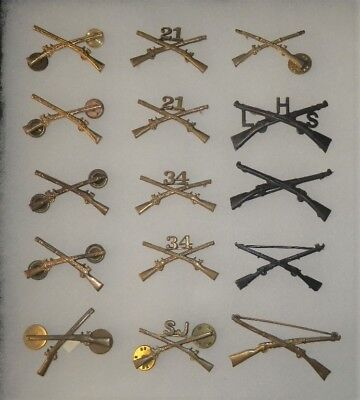 Original WWII or Earlier Infantry Officer Branch Insignia Lot -15 Items