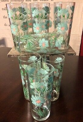 VINTAGE Turquoise & Pink DAISY SWANKY SWIG GLASSES Set Of 9 14 Ounces