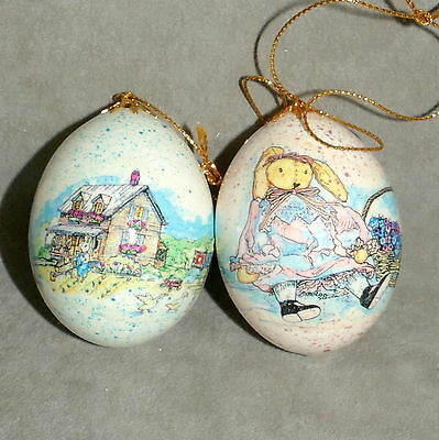 Christmas Ornament EASTER Egg Hand Painted Rabbit Bunny Store Buildings Lot of 2