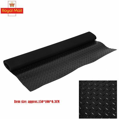 Superior Black Checker-Plate Garage Van Shed Rubber Flooring Matting 1.5M Wide