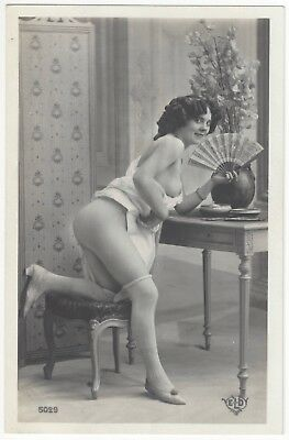 1920 French NUDE Photograph - Great Legs Holding Japanese Fan, Flower Vase