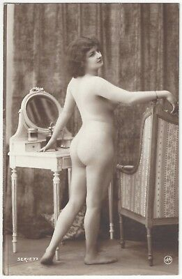 1920 French NUDE Photograph - Curvy Brunette by Jean Agelou