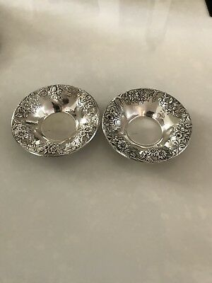 Pair Of Kirk Sterling Silver Repousse Candy Dishes/bowls  #14